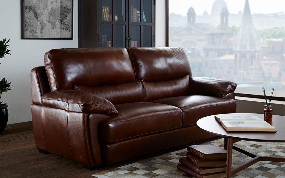 イタリア製 総皮革張りソファ